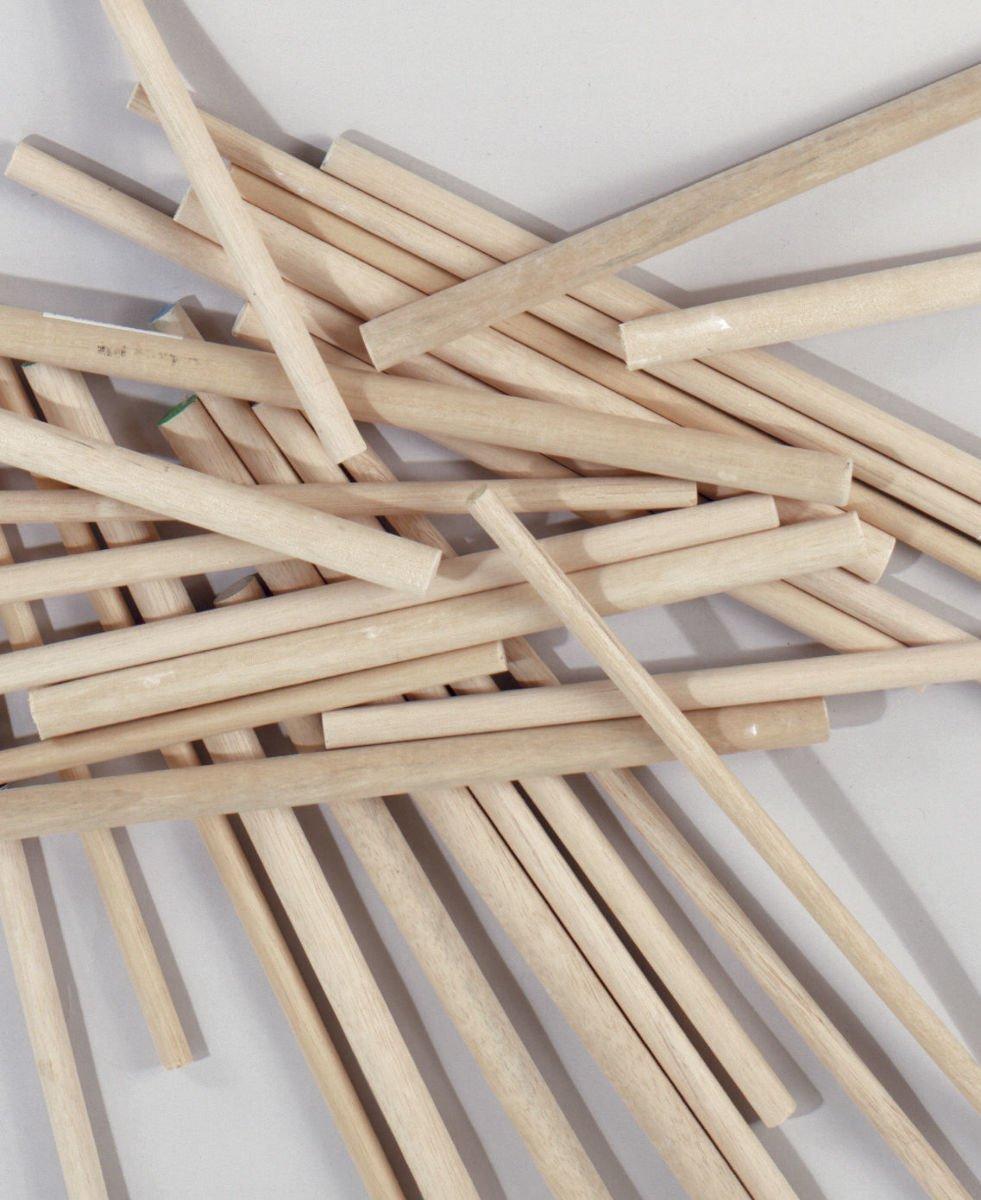 Pack of 8 Round Hardwood Dowel Rods 3/4'' Dia x 36'' Long 7312U C.C. Yellow