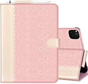 """WWW iPad Pro 12.9 Case 2020, iPad Pro 12.9 4th Genaration Case,[Luxury Laser Flower] Case with Apple Pencil Holder Auto Wake/Sleep and Multiple Viewing Angles for iPad Pro 12.9"""" 4th Gen 2020 Rose Gold"""