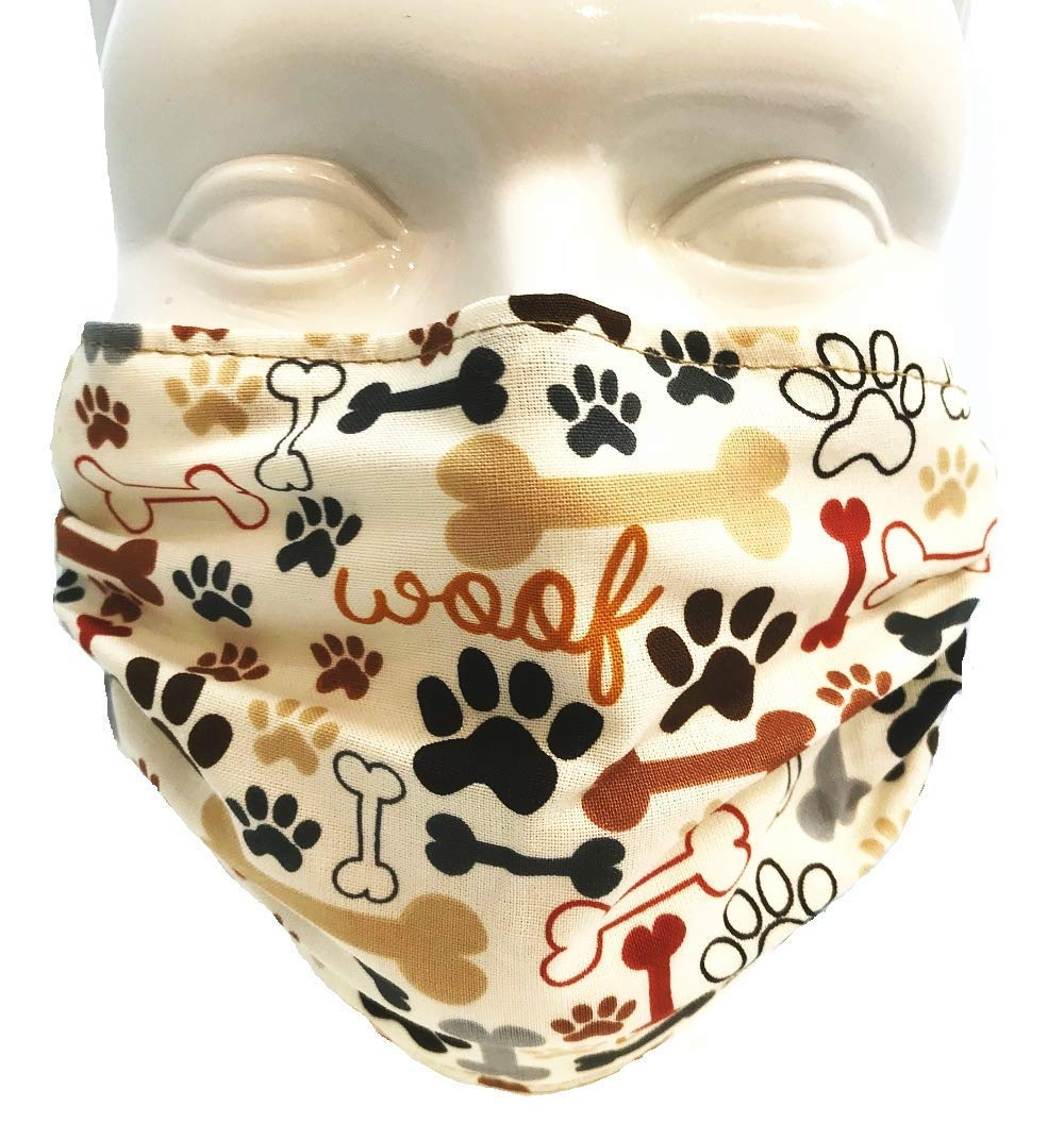 Breathe Healthy Dust, Asthma, Allergy, Cold and Flu Mask - Comfortable Protection That Outlasts Hundreds of Disposable Masks - Dog Bones and Paw Prints (Adult) by Breathe Healthy