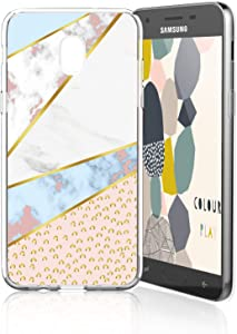 TJS Phone Case for Galaxy J7 2018/J7 Refine/J7 Star/J7 Eon/J7 TOP/J7 Aero/J7 Crown/J7 Aura/J7 V 2nd Gen Case, TPU Marble Transparent Clear Soft Skin Case (Leop)