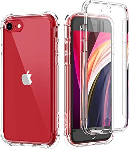 SURITCH Clear Case for iPhone se 2020/iphone 8/7,?Built in Screen Protector? Hybrid Protection Hard Shell+Soft TPU Rubber Bumper Rugged Case for iPhone se 2020/iphone 8/7 4.7 Inch(Clear)