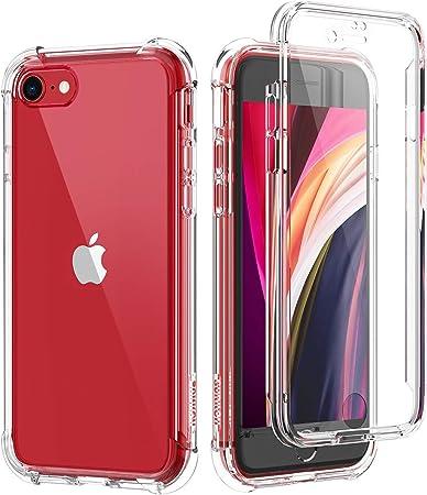 SURITCH Custodia iPhone SE 2020 iPhone 7 iPhone 8 Trasparente Cover Antiurto 360 Gradi [Ultra Hybrid] Silicone TPU Bumper e PC Pannello Posteriore, ...
