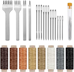 Cridoz 24 Pcs Leather Sewing Tools Stitching Pouch Kit with 4mm Prong Punch Stitching Chisel, Waxed Thread and Large-Eye Stitching Needles for Beginner Leather Sewing Working Crafting Projects