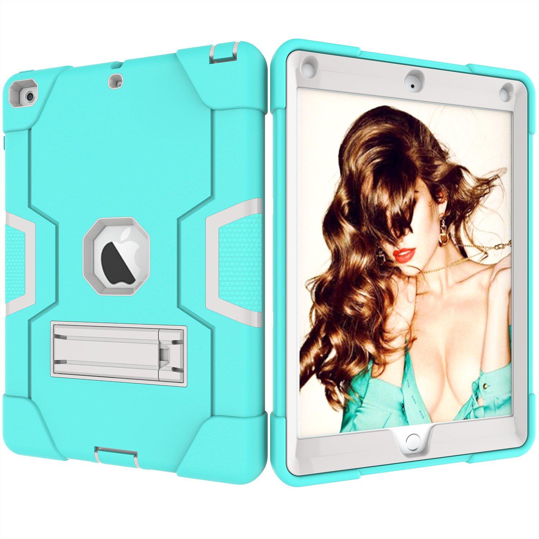 Hansin Kickstand Coque pour Apple Nouvel iPad 9,7 Pouces 2018//2017-3in1 Antichoc Etui Lourd Devoir Robuste R/ésistant Cover Protection Housse avec Stand Fonction Noir//Gris
