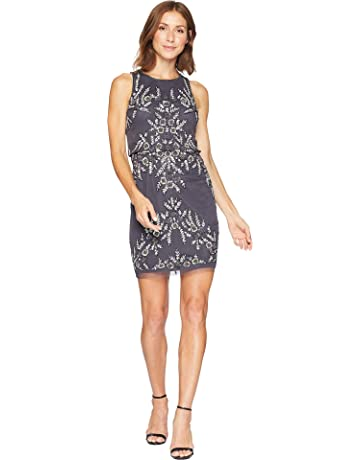202805aa8a Adrianna Papell Womens Beaded Blouson Halter Cocktail Dress