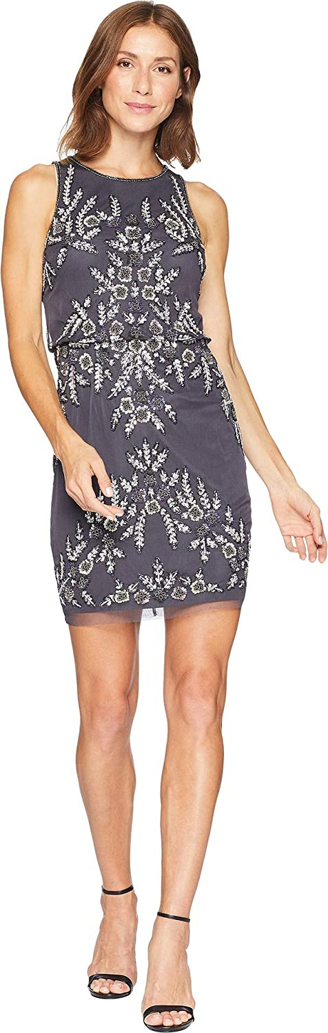 Adrianna Papell Womens Beaded Blouson Halter Cocktail Dress