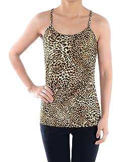 aa4b1d03aab2eb Anna-Kaci Womens Casual Leopard Print Spaghetti Strap Soft Racerback Tank  Top