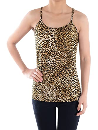 40b2a4267b63dc Anna - Kaci Womens Brown Leopard Print Casual Spaghetti Racerback Tank Top,  Brown, Small
