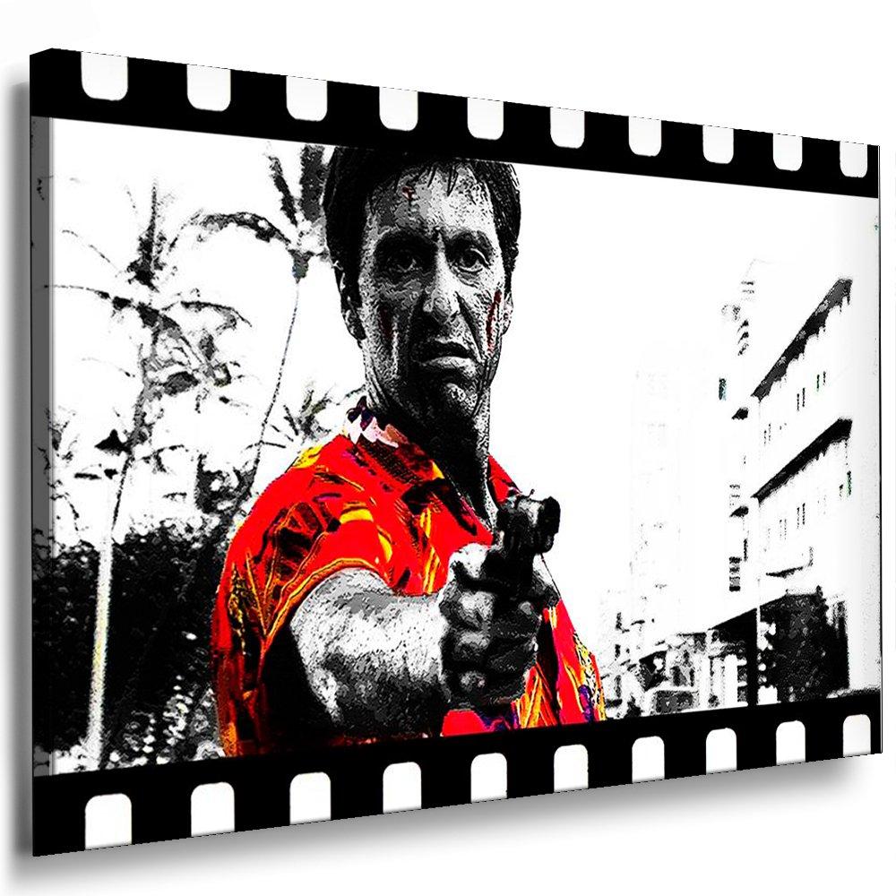 Scarface - Al Pacino Leinwand Bild 120x80cm k. Poster   Bild fertig auf Keilrahmen   Pop Art Gemälde Kunstdrucke, Wandbilder, Bilder zur Dekoration - Deko. Film   Movie   Tv Stars Kunstdrucke