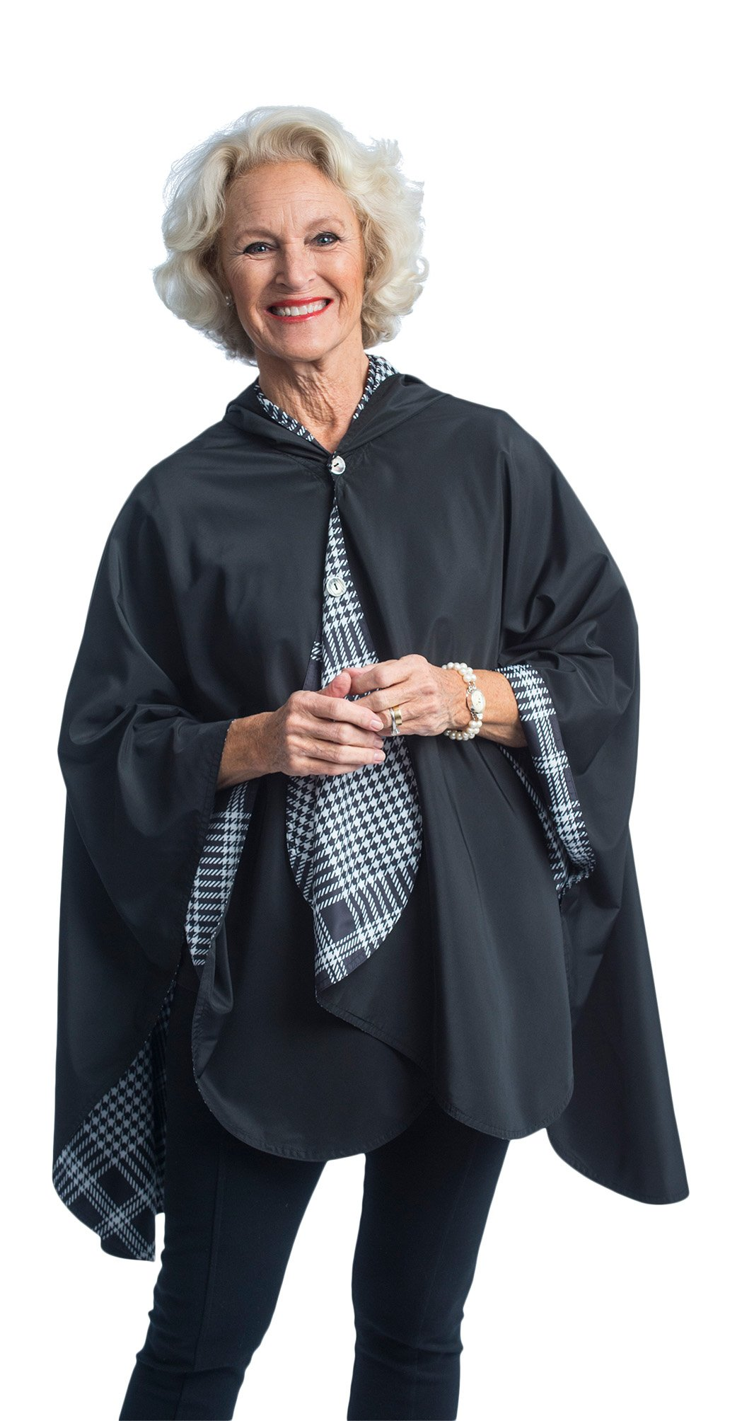 RainCaper Rain Poncho for Women - Reversible Rainproof Hooded Cape in Gorgeous Ultrasoft Colors (Black & B&W Houndstooth Plaid)