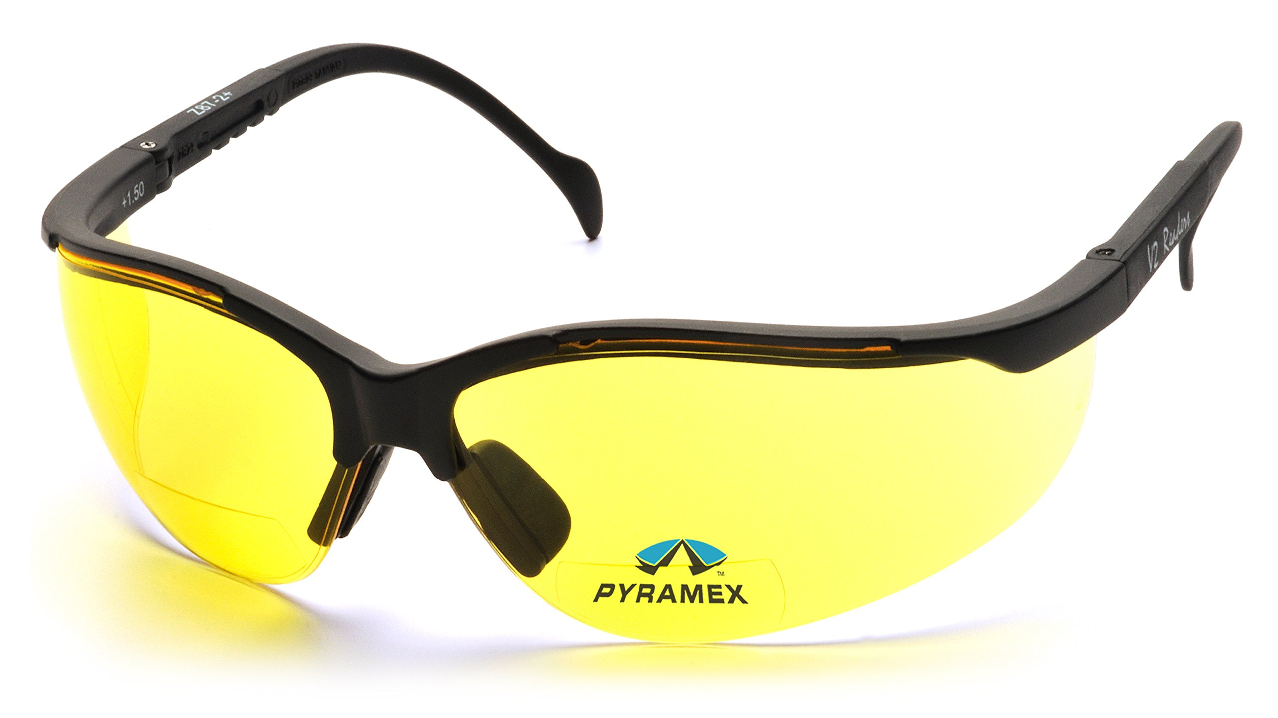 Pyramex V2 Bifocal Reader Safety Glasses Protective Eyewear, 2.0 Diopters, Amber