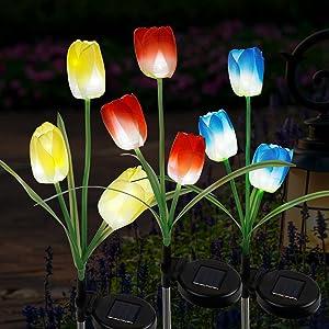 FORUP 3 Pack Solar Garden Stake Lights, Outdoor Solar Tulip Flower Lights with 9 Tulip Flowers, LED Tulip Solar Powered Lights for Patio, Lawn, Garden, Yard Decoration