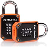 2 Pack FortLocks Gym Locker Lock - 4 Digit, Heavy Duty, Hardened Stainless Steel, Weatherproof and Outdoor Combination Padlock - Easy to Read Numbers - Resettable And Cut Proof Combo Code - Orange