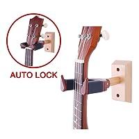 BestSounds Ukulele Wall Hanger Auto Lock Safety Wooden Wall Mount Holder, Guitar Hanger and Mandolin Hanger(Rosewood)