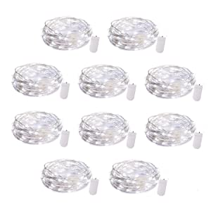 10 Pack Fairy Lights 7 Ft 20 LED Firefly Lights Battery Operated String Lights Silver Coated Copper Wire Starry Moon Lights for DIY Wedding Bedroom Indoor Party Decoration Pure White