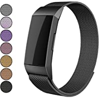 Mosonoi Compatiable with Fitbit Charge 3 Bands, Adjustable Metal Bands Replacement Straps Fit for Fitbit Charge 3/ Charge 3 SE Smartwatch Women Men