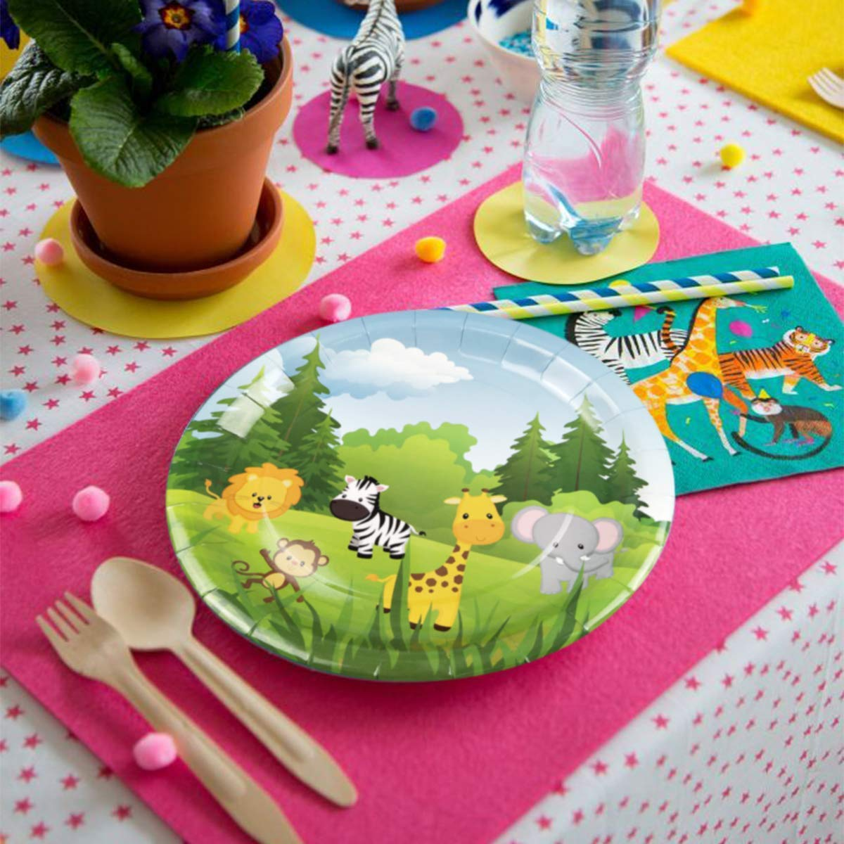 Talking Tables Paper Disposable Safari Jungle Zoo Animal Party Plates Dia 23cm Green Pack of 8 9