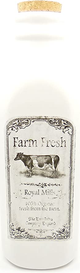 Hobby Lobby Farm Bottle,White Glass,Farm Fresh Label with Cow,100% Organic  print