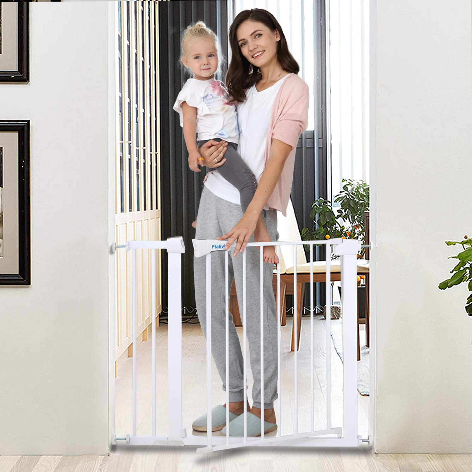 Safety Baby Gate,29.5-40.5 inch Auto Close Features,Luxury Extra Tall&Wide Child Gate, Heavy-Duty gate, Easy Walk-Thru pet Gate for The House, Stairs, Doorways & Hallways. (Applicable 29.5''-40.5'') by KINGMAZI