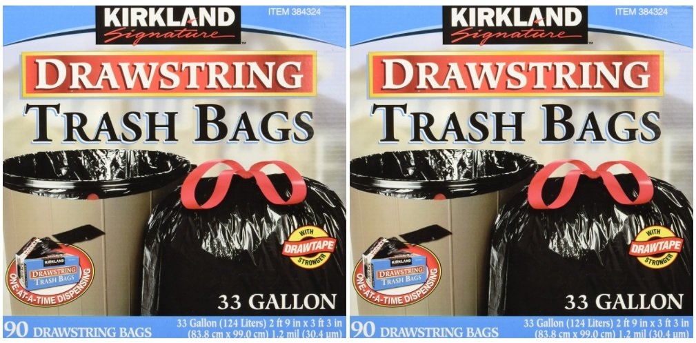 Kirkland Signature Drawstring Trash Bags - 33 Gallon - Xl Size - 2 Pack (90 count)