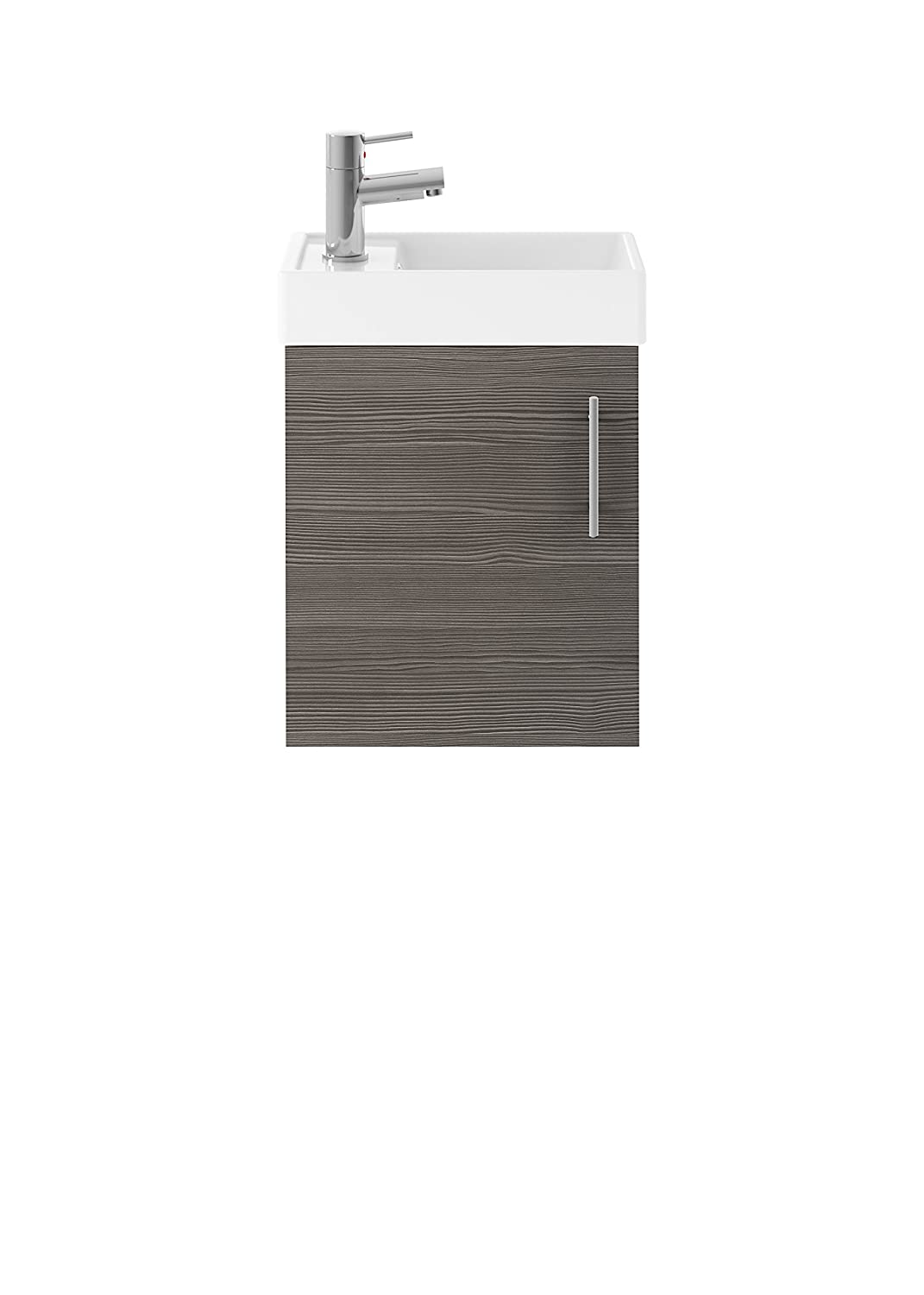 Driftwood Premier MIN009 Vault Compact Wall Hung Cabinet and Basin, Grey Avola, 400 mm, Set of 2 Pieces