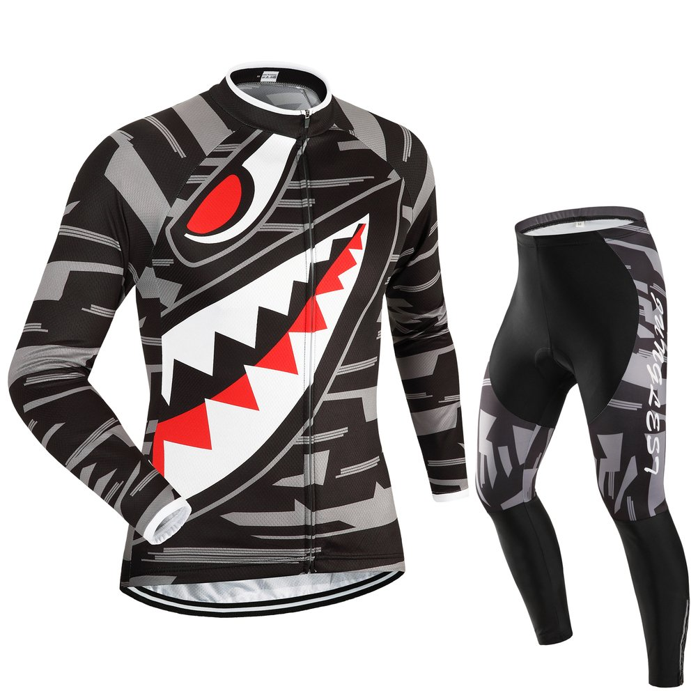 Men's Cycling Jersey and Pants Set, Long Sleeve with 3D Pad for Fall and Winter JUNGLEST