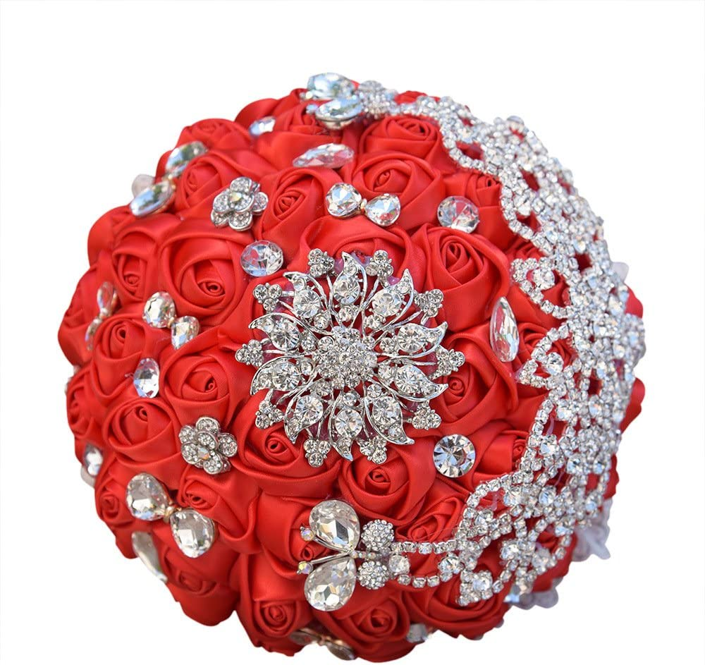 Abbie Home Sparkle Rhinestone Brooch Bouquet - Satin Rose Quinceanera Bouquets Bride Bridesmaids Wedding Flower with Crystal Jewelry Ribbon Décor (Red)