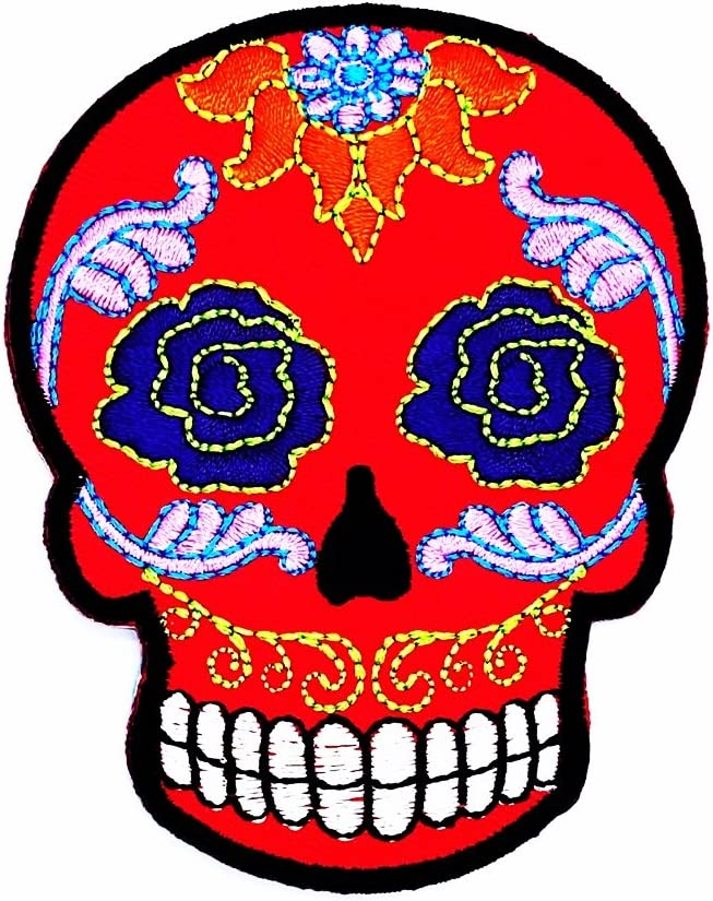 Sugar Skull día de Muertos diseño de tatuaje tribal motocicleta parche ideal para su Jeans, sombreros, bolsos, chaquetas y camisas de adorno.: Amazon.es: Juguetes y juegos
