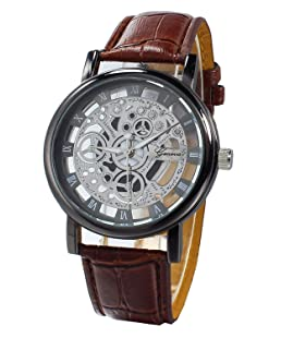 TOOGOO(R) (Brown Strap & Black Dial) Men's Faux Leather Band Wrist Skeleton Watch