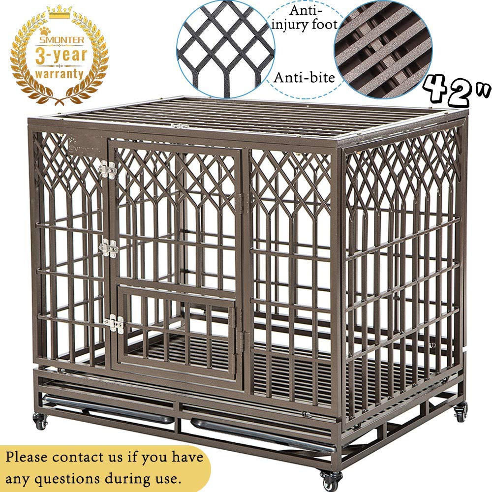 SMONTER Heavy Duty Dog Cage for Large Dog Strong Metal Kennel and Crate Pet Playpen with Three Doors, Four Wheels,42 Inch,Y Shape,Brown ... ... ... by SMONTER