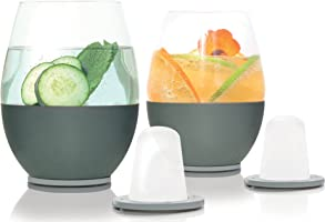 Dimple Self-chilling Stemless Wine Glasses | Magnetic Freezer Insert Makes Drinks Colder Longer | Silicone Insulated...