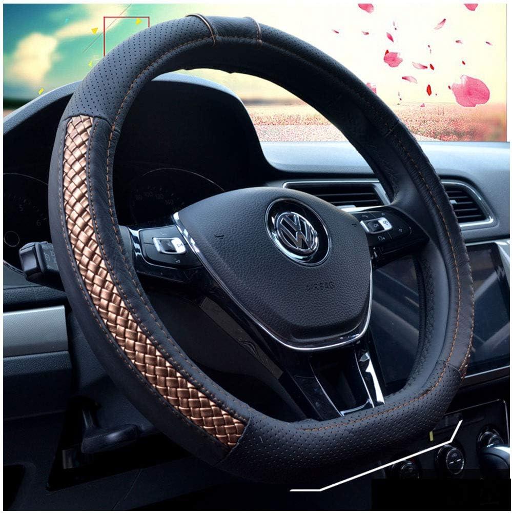 Universal Car Steering Wheel Cover PU Leather 38 cm Black+Beige