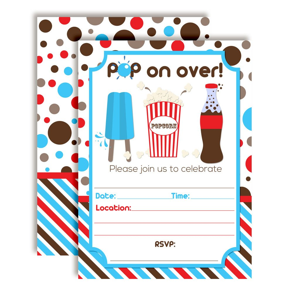 Pop On Over Soda and Popcorn Birthday Party Invitations 20 5x7 Fill in Cards with Twenty White Envelopes by AmandaCreation