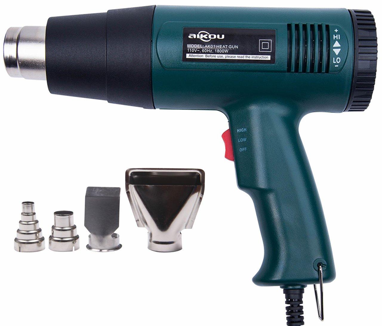 AIKOU 1800W Adjustable Temperature Power 110V Hot Air Heat Gun Fast Heating Blower Kits (Green)
