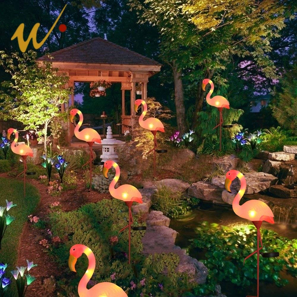 W-DIAN Solar Lights,19inch for Outdoor Pathway Metal Yard Art Plastic Metals Pink Flamingo Patio, Path, Lawn, Garden, Yard Decor,Outside Post Lighting Lamps Original Featherstone Flamingo's