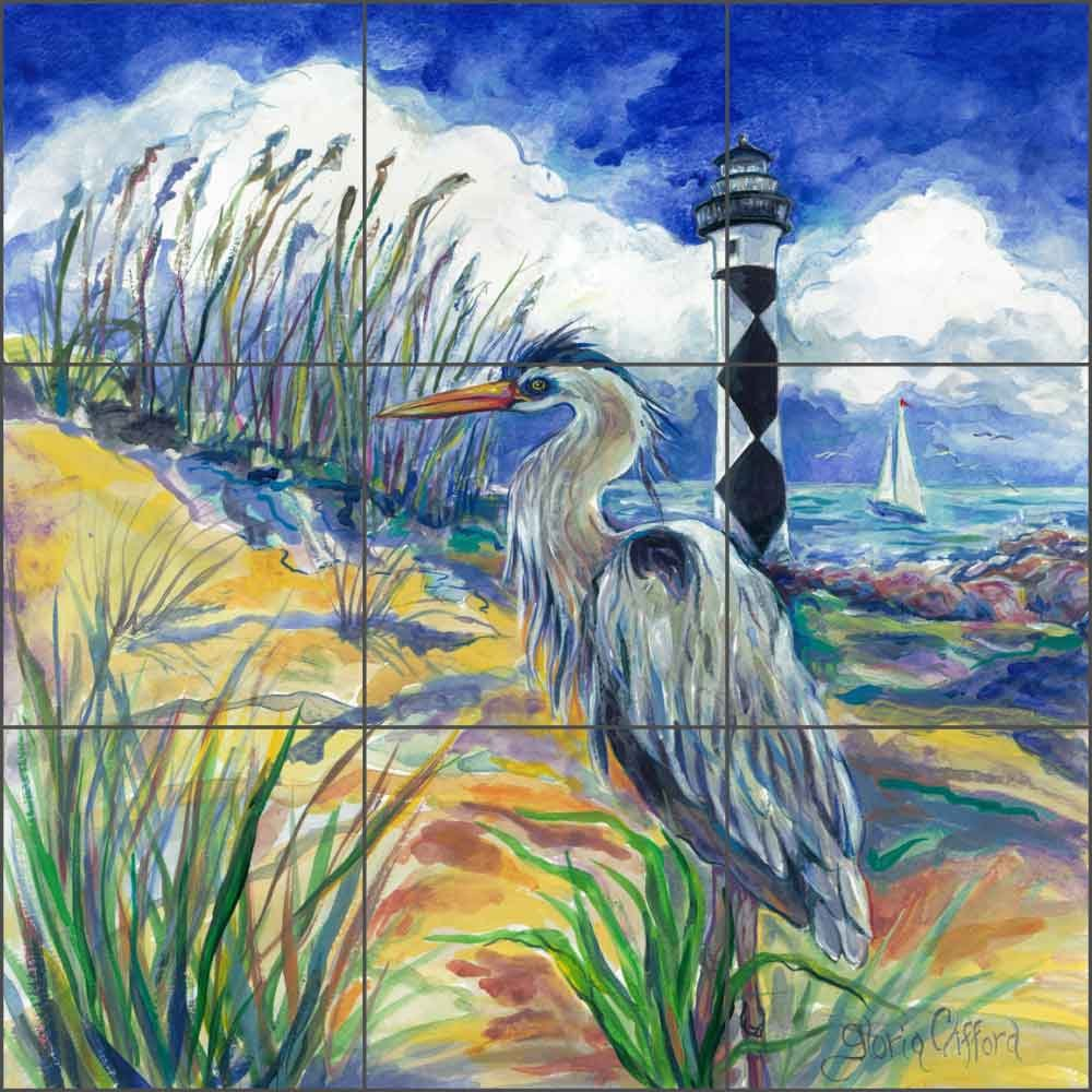 Artwork On Tile Ceramic Mural Backsplash Blue Heron at Cape Lookout by Gloria Clifford Kitchen Shower Bathroom (18'' x 18'' - 6'' tiles)