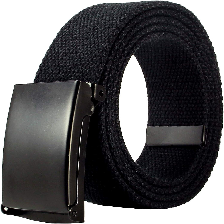120 cm Unisex Adjustable Mens Slider Buckle Military Style Weave Canvas Web Belt