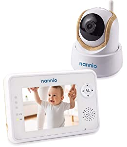 "Nannio Comfy Video Baby Monitor 3.5"" with Pan Tilt Zoom Camera, Enhanced Night Vision, Crying & Temperature Alert, VOX Mode, 2-Way Talk, Wireless High Privacy, Wall Mount Kit,"
