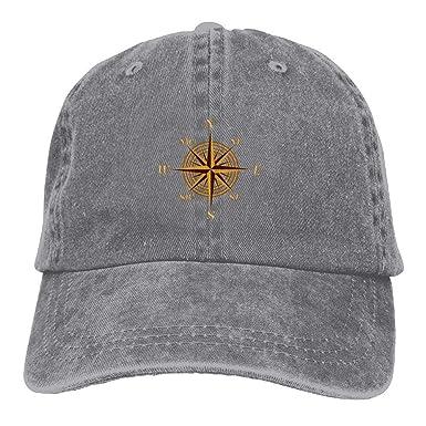 Nautical Sailing Compass Denim Hat Adjustable Snapback Baseball Caps AshOne  Size 72457712e80
