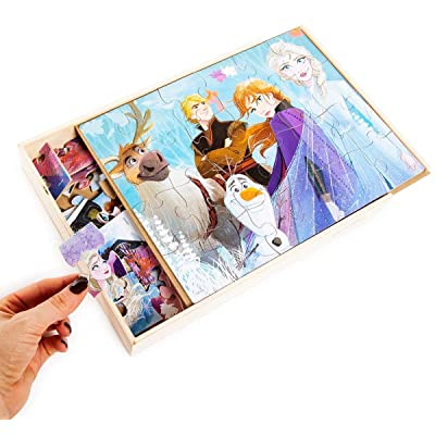 Disney Frozen 2 5 Wood Jigsaw Puzzles in Wood Storage Box: Toys & Games