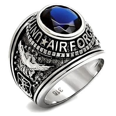 989d44cdced Acier inoxydable US Air Force USAF militaire Bague avec pierre bleue ...
