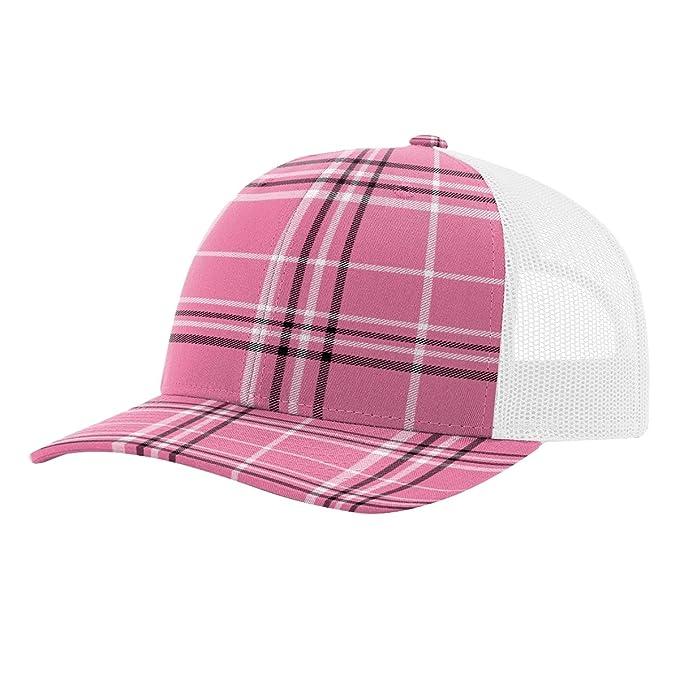b63d950a5 Twill Mesh Back Trucker Snapback Hat -- HOT PINK BLACK PLAID/WHITE ...