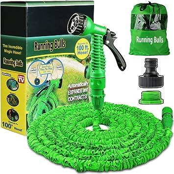 100ft garden hose. 100FT Expanding Garden Water Hose Pipe With 7 Function Spray Gun Expandable Flexible Magic Anti 100ft M