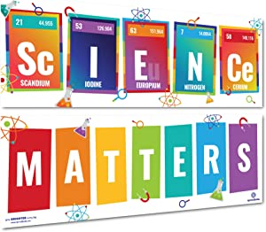 Sproutbrite Science Classroom Decorations - Banner and Poster for Teachers - Bulletin Board and Wall Decor for Pre School, Elementary and Middle School
