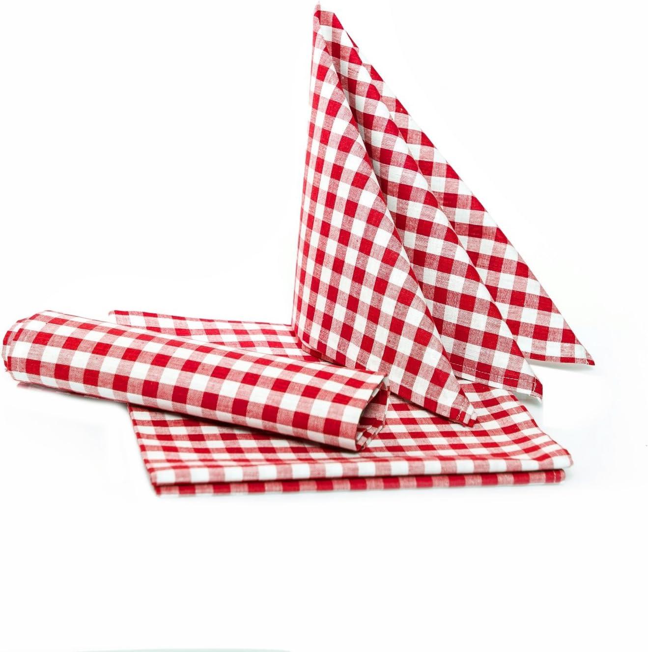 Tejido ldep OT24rústico Manteles en cuadros–Color y Tamaño a Elegir–100% algodón, algodón, rojo y blanco a cuadros, 40x40 cm - 6 Stück