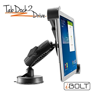 """iBOLT Tabdock 2 Drive-Holder/Mount with Suction Cup and AMPs Plate BizMount- for Your Windshield, Dashboard, or Desk - Compatible with All 7""""-10"""" Tablets: iPad, Samsung Galaxy Tab, Google Nexus"""