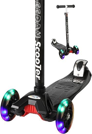 Flashing Wheels Outdoors Rear Brake Wide Deck T-Bar Kick Scooters For Kids