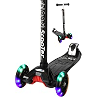 EEDAN Scooter for Kids 3 Wheel T-bar Adjustable Height Handle Kick Scooters with Max Glider Deluxe PU Flashing Wheels Wide Deck for Children from 5 to 14 Year-Old