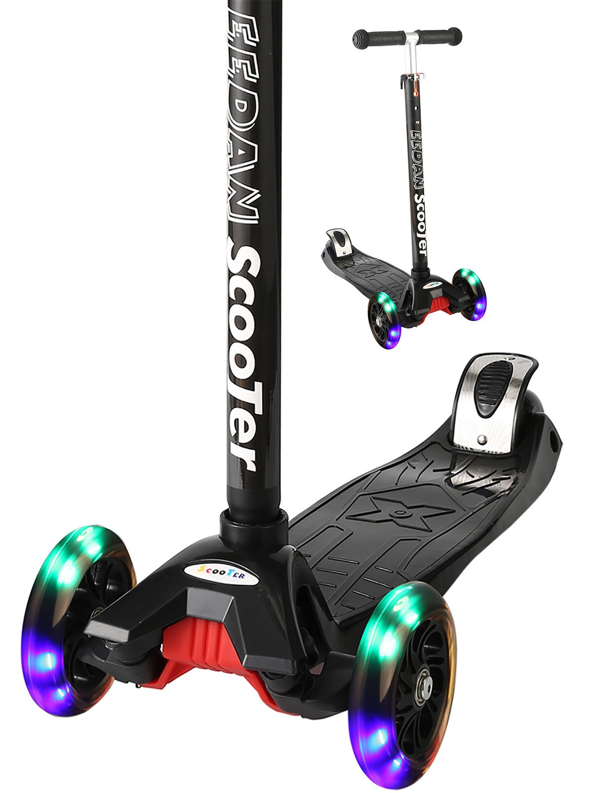 EEDAN Scooter Kids 3 Wheel T-Bar Adjustable Height Handle Kick Scooters Max Glider Deluxe PU Flashing Wheels Wide Deck Children from 2 to 14 Year-Old (Black)
