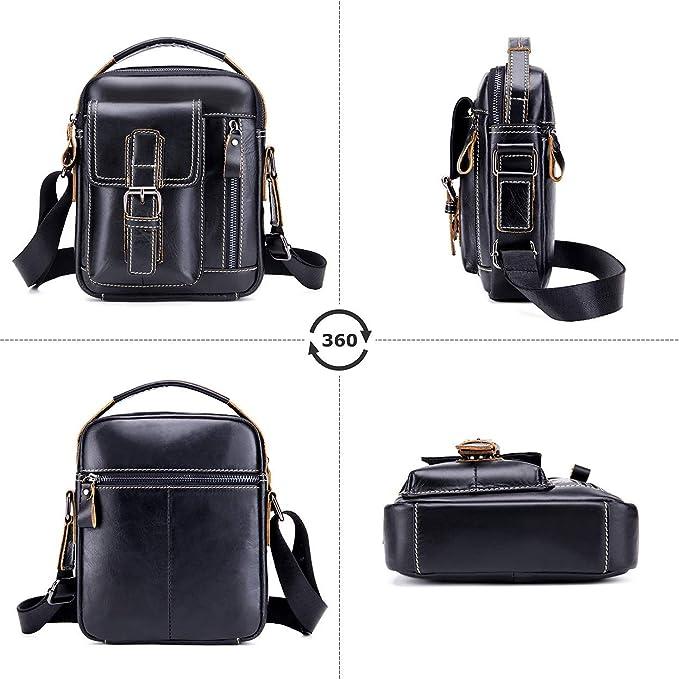 Black Tippnox Men Leather Messenger Bag Vintage Small Shoulder Travel Bags Casual Crossbody Purse Satchel Handbag